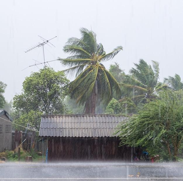 Casa di legno in tempesta di vento rurale e raffica piove