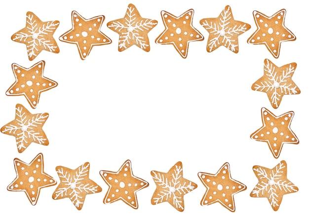 Biscotti di natale fatti in casa su sfondo bianco con copia spazio