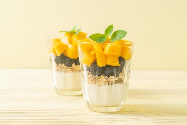 Mango fresco fatto in casa e mirtillo fresco con yogurt e muesli. stile alimentare sano