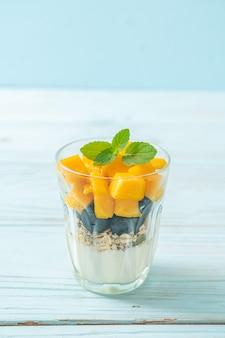 Mango fresco fatto in casa e mirtillo fresco con yogurt e muesli - stile alimentare sano healthy