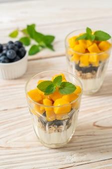 Mango fresco fatto in casa e mirtillo fresco con yogurt e muesli - stile alimentare sano