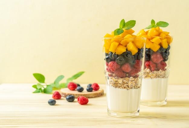 Mango fatto in casa, lamponi e mirtilli con yogurt e muesli - stile di cibo sano