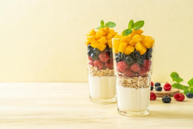 Mango fatto in casa, lampone e mirtillo con yogurt e muesli - stile di cibo sano