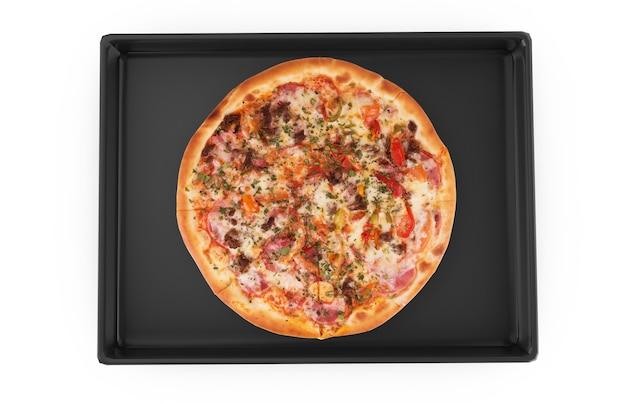 Pizza margherita fatta in casa su una teglia