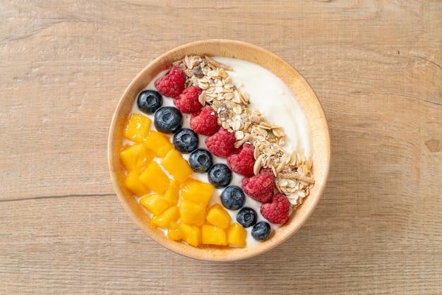 Ciotola di yogurt fatta in casa con lampone, mirtillo, mango e muesli - stile alimentare sano healthy