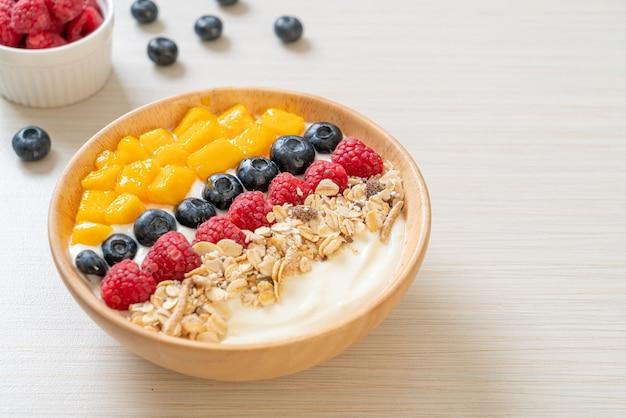 Ciotola di yogurt fatta in casa con lampone, mirtillo, mango e muesli - stile alimentare sano