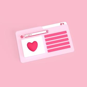 Browser di amore di hompage con un design minimale 3d reso