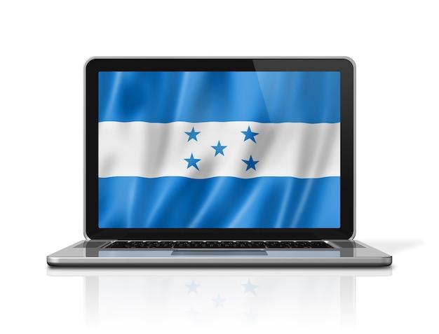 Bandiera dell'honduras sullo schermo del computer portatile isolato su bianco. rendering di illustrazione 3d.