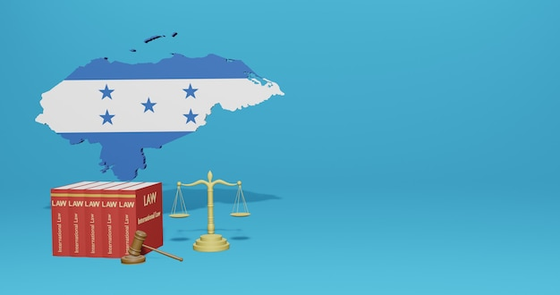 Legge dell'honduras per le infografiche, i contenuti dei social media nel rendering 3d