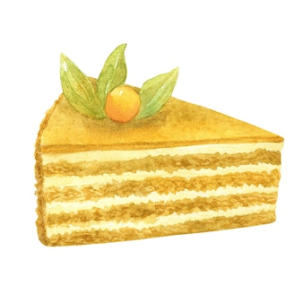Torta al miele. biscotto beige, panna e frutti di bosco come decorazione. illustrazione dell'acquerello disegnato a mano. isolato sulla parete bianca.