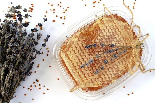 Miele in favi e fiori secchi di lavanda su sfondo bianco