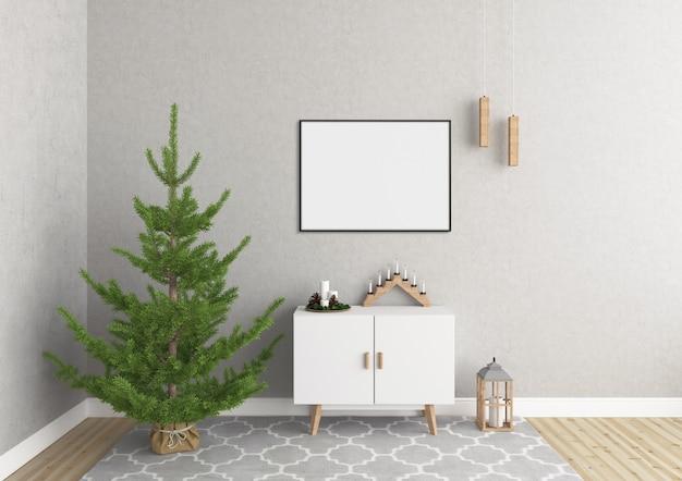 Mockup di cornice orizzontale - display di opere d'arte - interni di natale scandinavo