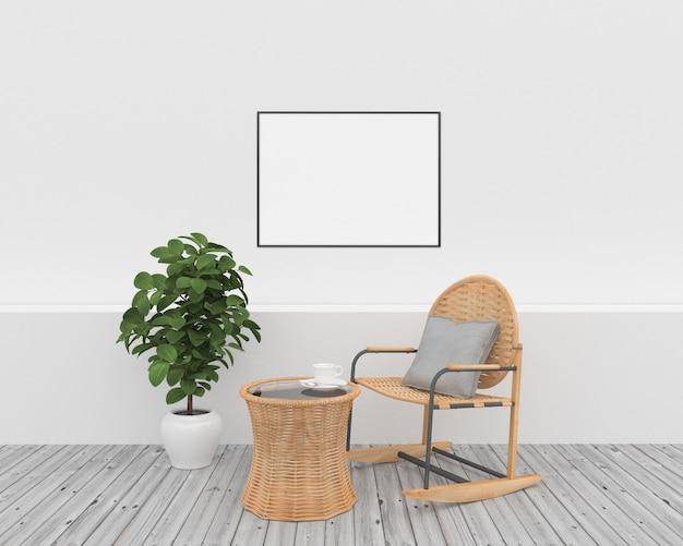 Cornice orizzontale - interno bianco con mobili in vimini