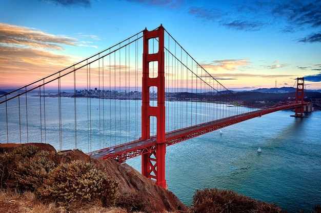 Vista orizzontale del golden gate bridge di san francisco, california, usa