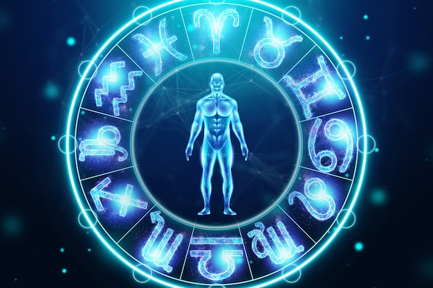 Concetto di oroscopo, uomo sullo sfondo di un cerchio con i segni dello zodiaco, astrologia. consultazione con le stelle. illustrazione 3d, rendering 3d