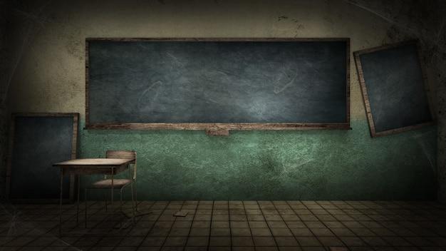 Orrore e inquietante aula nel rendering 3d della scuola
