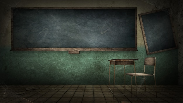 Orrore e inquietante classe nella scuola. rendering 3d