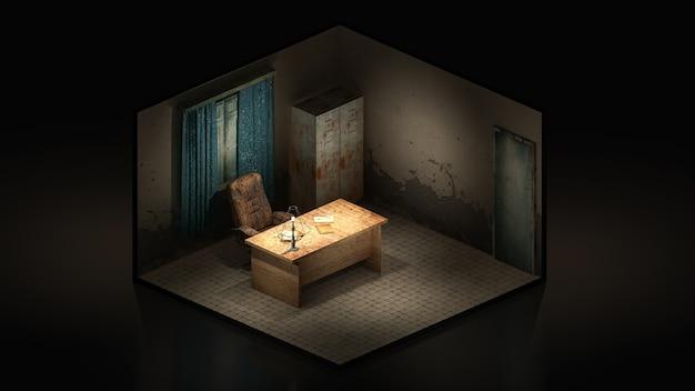 Orrore e inquietante stanza di lavoro in ospedale. rendering 3d, illustrazione 3d isomatric.