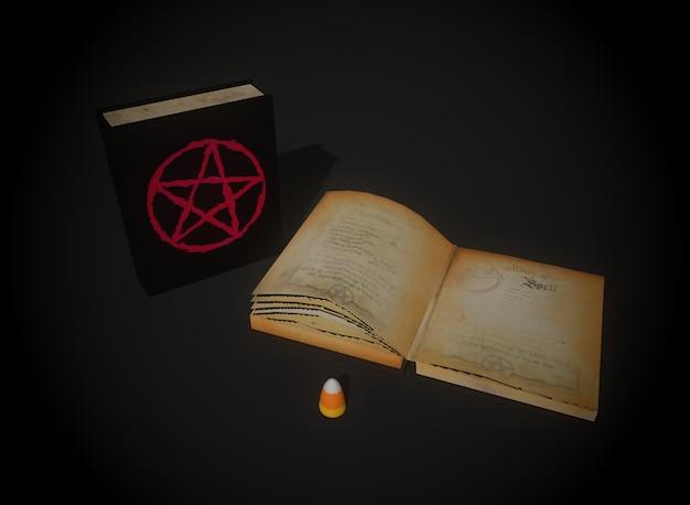 Libro degli incantesimi horror sullo sfondo 3d-rendering