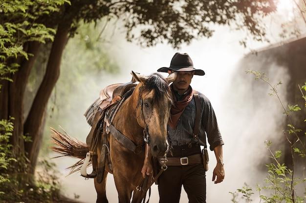 Alba del cavallo e del cowboy di mattina Foto Premium