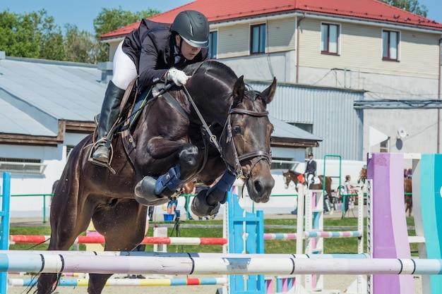 Gare di sport equestri di salto a cavallo
