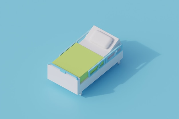 Singolo oggetto isolato della camera da letto dell'ospedale. 3d render illustrazione isometrica