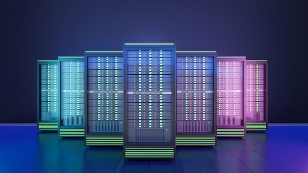 Hosting server rack contenitore con sfondo blu. 3d render illustrazione immagine.