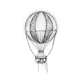 Mongolfiera dotwork. illustrazione raster del design della maglietta. schizzo disegnato a mano del tatuaggio di viaggio.