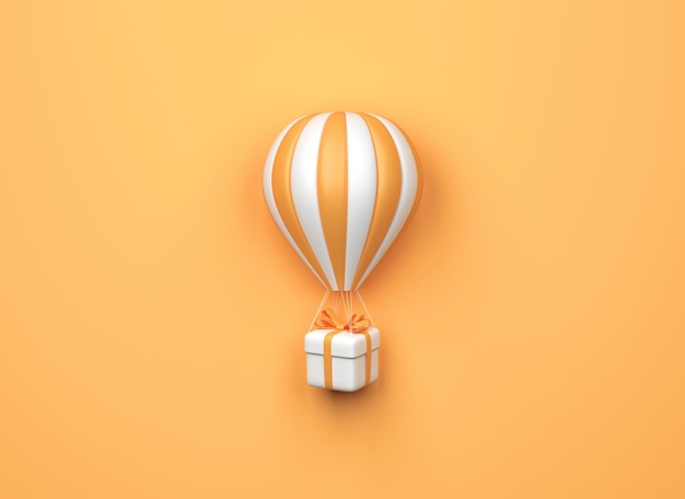 Mongolfiera con confezione regalo su sfondo arancione. stile minimale. rendering 3d