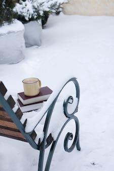 Cioccolata calda in una tazza sui libri nel giardino d'inverno. luogo per privacy e relax.