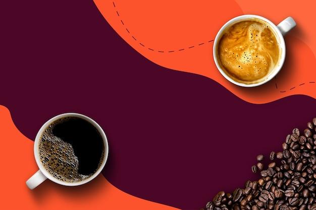 Caffè caldo e fagioli su sfondo viola e arancione