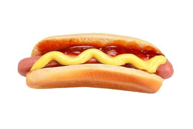 Hot dog isolati su sfondo bianco. copia spazio.