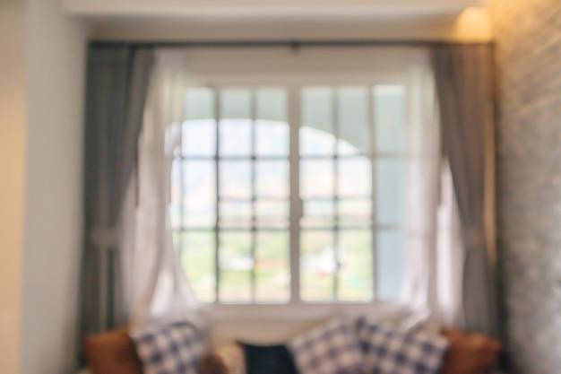 Hotel resort living room interior design con grandi finestre sfocatura astratta
