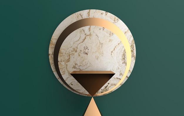 Piedistallo a clessidra astratto, insieme di gruppi di forme geometriche, sfondo in marmo, rendering 3d, scena con forme geometriche, piattaforma minimalista, cornice dorata rotonda, disco di marmo