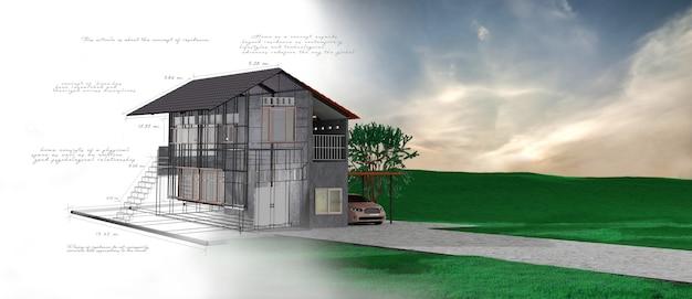Progetto casa 3d con note scritte a mano. rendering 3d