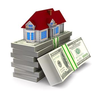 Casa e contanti su uno spazio bianco