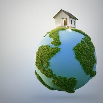 Casa sulla terra ed erba verde nella vendita immobiliare o nel concetto di investimento immobiliare