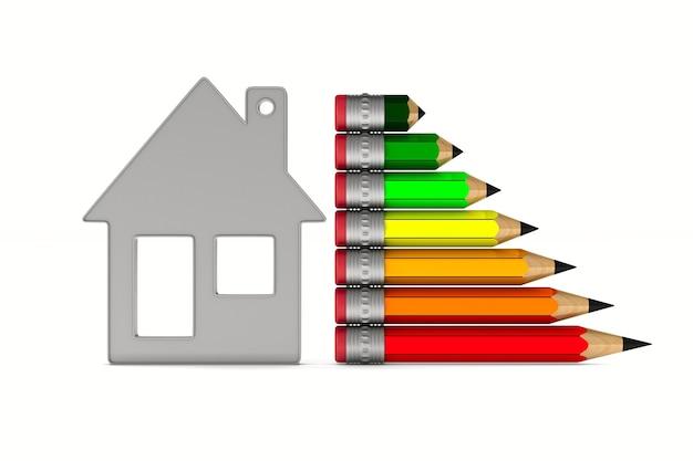 Casa e risparmio energetico dalla matita su sfondo bianco. illustrazione 3d isolata