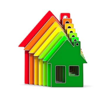 Casa e risparmio energetico su uno spazio bianco. illustrazione 3d isolata