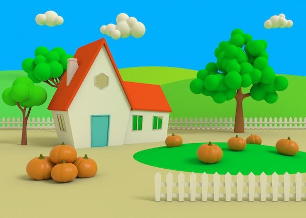 Camera nel campo delle zucche sull'autunno, rappresentazione 3d