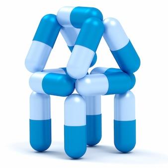 Camera dalle pillole della capsula isolate su bianco. concetto di medicina