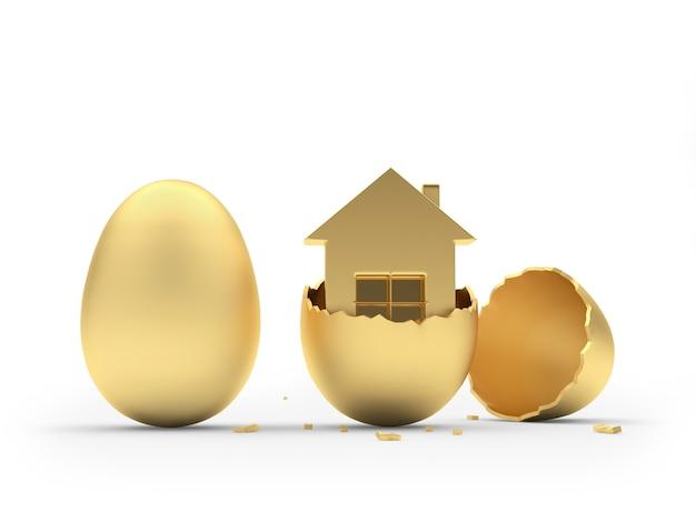 Icona della casa in un uovo rotto e un intero uovo d'oro