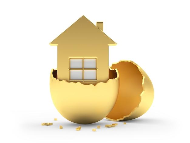 Icona della casa all'interno dell'uovo d'oro rotto