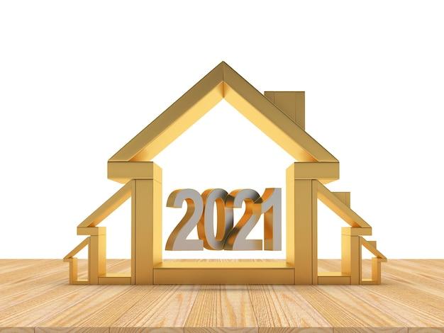 Icone della casa in diverse dimensioni e numero di capodanno