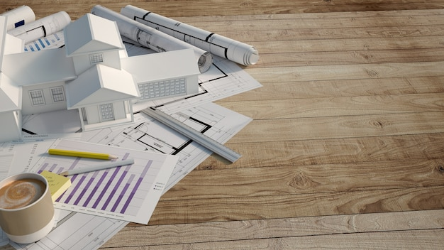 Casa mock up in cima a una superficie di legno con modulo di richiesta di mutuo,