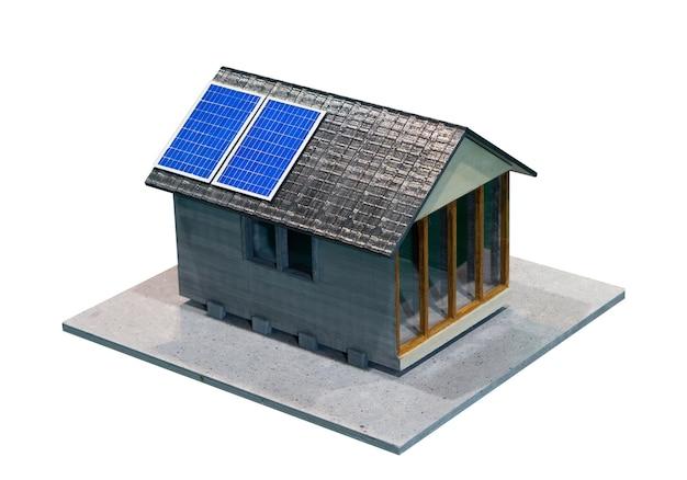 Modello di casa con pannelli solari separati isolati