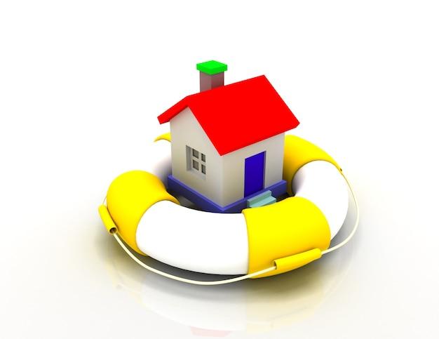 Concetto di protezione della casa. illustrazione 3d.
