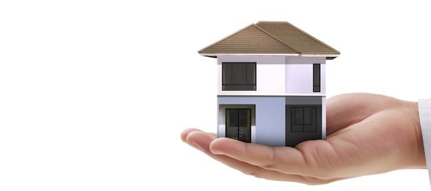 Casa struttura residenziale in una mano, idea di casa d'affari