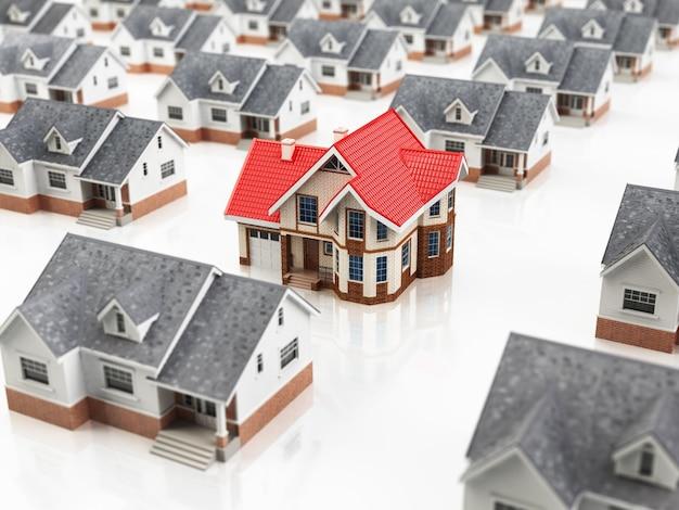 Ricerca della casa. scelta della casa dei sogni. concetto di bene immobile. perquisizione della casa. 3d
