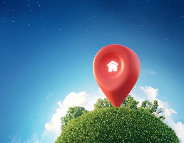 Simbolo della casa con l'icona del perno di posizione sulla terra e sull'erba verde nel concetto di investimento immobiliare